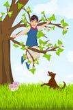 Kind im Baum stock abbildung