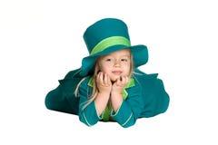 Kind im Kostümkobold, St Patrick Tag Lizenzfreie Stockbilder