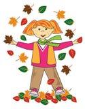 Kind im roten Haarmädchen der Blätter Lizenzfreie Stockbilder