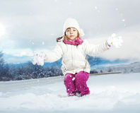 Kind im Winter Stockfotografie