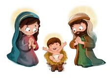 Kind Jesus mit St Joseph und Jungfrau Maria lizenzfreie stockfotografie