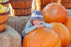 Kind am Kürbisflecken stockfoto