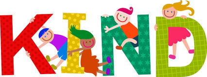 Kind Kids Title Text. Happy cartoon smiling children climbing over letters of the alphabet that spell out the word KIND vector illustration