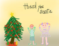 Kind mögen Zeichnung des Weihnachtsmorgens lizenzfreie abbildung