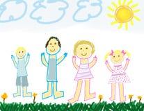 Kind mögen Zeichnung einer glücklichen Familie Lizenzfreies Stockbild