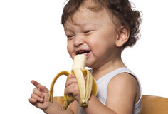 Kind met banaan. Stock Afbeeldingen