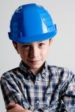Kind met blauwhelm Royalty-vrije Stock Afbeelding