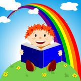 Kind met boek Stock Foto's