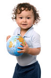 Kind met bol. Royalty-vrije Stock Afbeelding