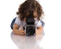 Kind met camera stock afbeelding