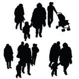 Kind met de illustratie van het familiesilhouet Royalty-vrije Stock Afbeelding