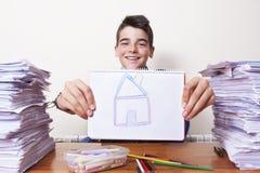 Kind met de tekening Royalty-vrije Stock Foto
