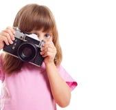 Kind met een camera stock fotografie