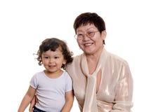 Kind met grootmoeder Stock Foto