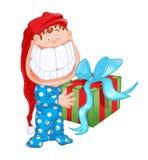 Kind met grote glimlach en geïsoleerdec gift Stock Foto
