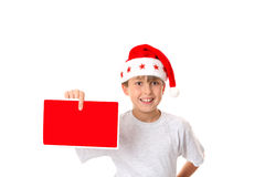 Kind met het Bericht van Kerstmis stock afbeeldingen