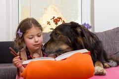 Kind met hond op laag stock afbeelding