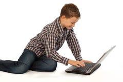 Kind met laptop Royalty-vrije Stock Foto