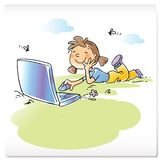 Kind met laptop computer Stock Foto
