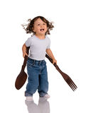Kind met lepel en vork royalty-vrije stock afbeeldingen