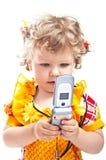 Kind met mobiele telefoon stock afbeeldingen