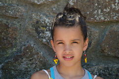 Kind met oorring Stock Afbeelding