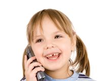 Kind met telefoon Stock Foto