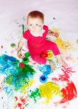 Kind met verven Royalty-vrije Stock Afbeeldingen