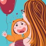Kind met zijn moeder vector illustratie