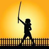 Kind met zwaard in aardillustratie Stock Fotografie