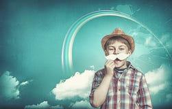 Kind mit dem Schnurrbart Stockbild