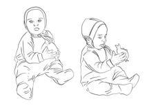 Kind mit dem Toy.Sketch Schwarzweiss stock abbildung