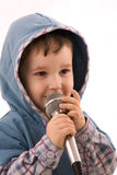 Kind mit einem Mikrofon Lizenzfreies Stockbild