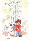 Kind mit einem Panda Stockfotos