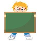 Kind mit einer Tafel Stockbild