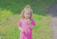Kind mit Eiscreme, Wege im Park Stockbild