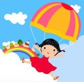 Kind mit Fallschirm lizenzfreie abbildung