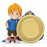 Kind mit großer Medaille Stockfotos