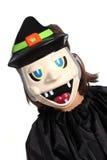 Kind mit Halloween-Schablone Stockfotos