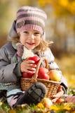 Kind mit Korb der Äpfel Lizenzfreies Stockbild