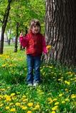 Kind mit Löwenzahn stockfotos
