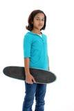 Kind mit Skateboard-Weiß-Hintergrund Stockbilder