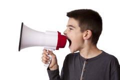 Kind mit Sprecher Lizenzfreies Stockfoto
