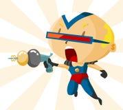 Kind mit Superheld-Zoll Stockfoto