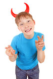 Kind mit Teufel-Hörnern Stockbild