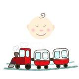Kind mit von Hand gezeichneter Illustration des Zugs Stockbild