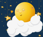 The kind moon. On a cloud Royalty Free Stock Image