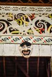 Facade of wooden house decorated with motifs of the Orang Ulu. This kind of motifs are common among the Kayan, Kenyah or Kelabit; generally also known as Orang Royalty Free Stock Images