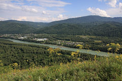 Kind from a mountain on the river Stock Image