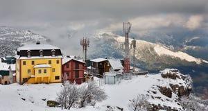 Kind on mountain-skiing base Royalty Free Stock Photos